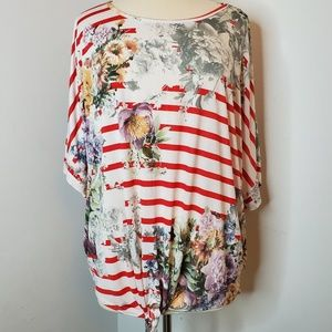 Tops - Stripe & Floral Tie Waste Dolman Top